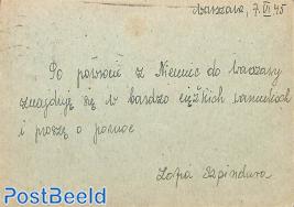 Postcard to Lisboa (undercover address)