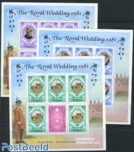 Royal wedding 3 minisheets