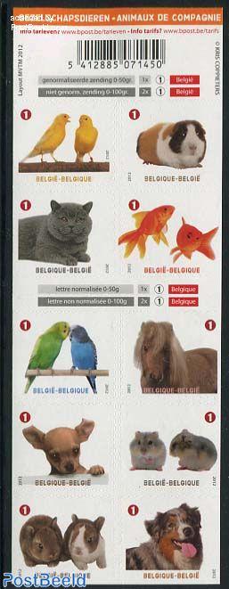 Companion domestic animals 10v s-a foil sheet