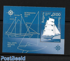 Tall ships s/s, blue print. Not valid for Postage.