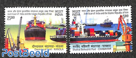 Joint issue Iran, harbours 2v