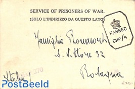 Service of prisoners of war, card to Bologna Italy
