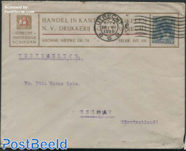 A cover from Utrecht to Weimar,Germany, with nvhp no. 63