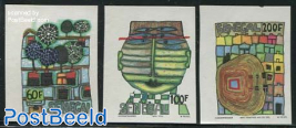 Hundertwasser 3v imperforated