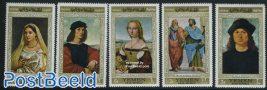 Raphael paintings 5v, gold border
