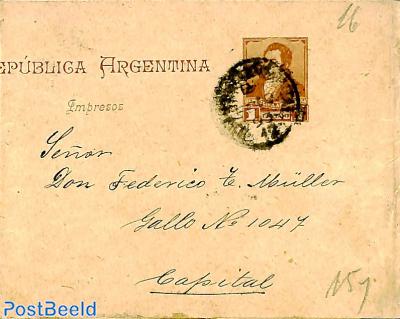 Stamp Argentina 1893 - Wrapper 1c Used Postal Stationary