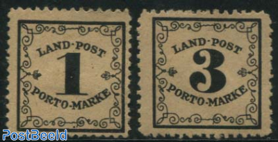 Land-Post Porto-Marke 2v, on redyellow paper