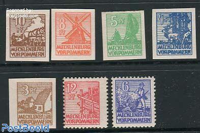 Mecklenburg-Vorpommern, definitives 7v, thick pape