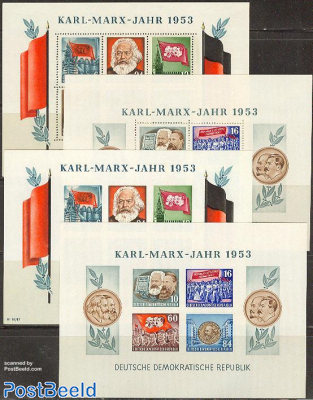 Karl Marx 4 s/s (2 perforated, 2 imperforated)