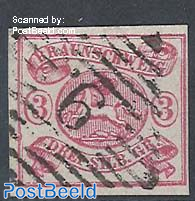 3Sgr, pink on white, imperforated, used 9