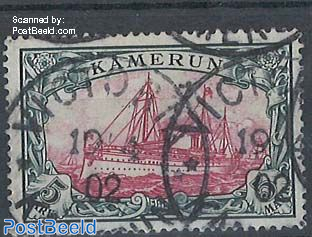 Kamerun, 5M, without WM, used Victoria Kamerun, one short perf, with attest Steuer