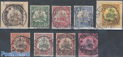 Kiautschou, ships, 9v used (2v on piece of letter)