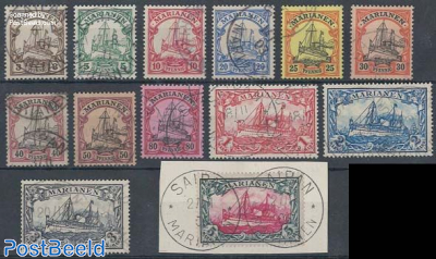 Marianen, definitives 13v used, 5M value on piece of letter, signed