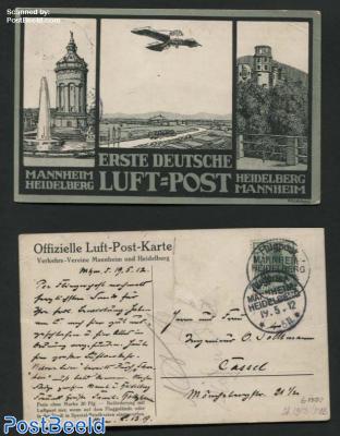 Airmail, first german airmail Mannheim-Heidelberf 19-5-1912