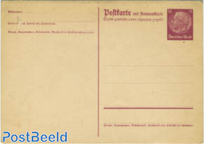 Reply Paid Postcard 15/15pf brownpurple