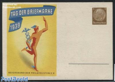 Illustrated postcard, Stamp Day 3pf, Yellow underground