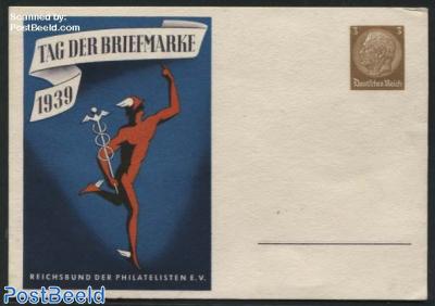 Postcard 3pf, Stamp Day, blue underground