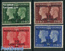 MOROCCO AGENCIES, Stamp centenary 4v