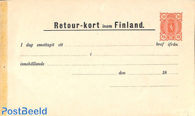Stamp 1892 Finland Return Card 10p 1892 Collecting Stamps