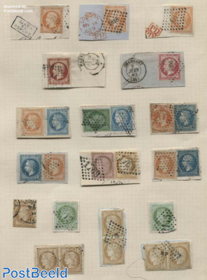 Albumpage with 26 stamps with cancellations, mostly on cover pieces