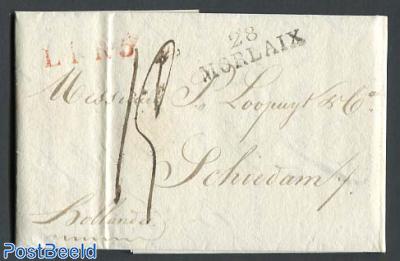 Folding letter from Morlaix to Schiedam
