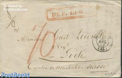 Folding letter from Mulhouse to Neuchatel via Bazel