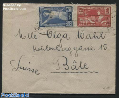 Letter to Switzerland, with Olympic stamps