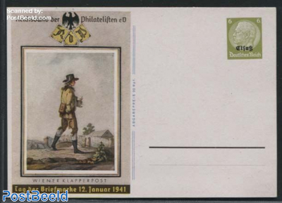 Postcard Elsass, Stamp Day 6pf