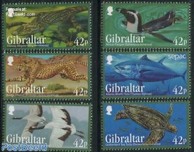 Endangered animals 6v