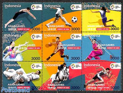 18th Asian Games 9v, sheetlet
