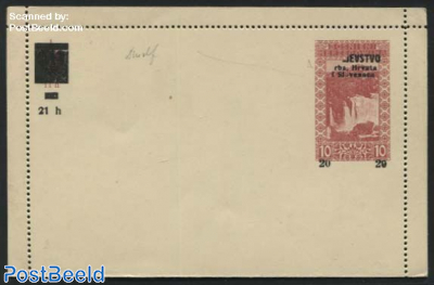 Card Letter overprint KRALJESTVO only half printed