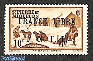10c, FRANCE LIBRE, stamp out of set