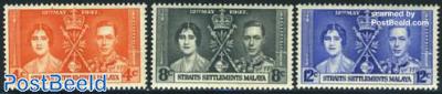 Straits Settlements, Coronation 3v