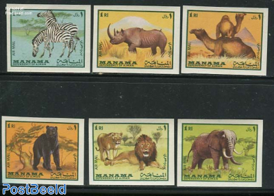 Animals 6v, imperforated