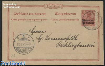 1900, German Post, Reply Paid Postcard 10/10pf, Type b/c