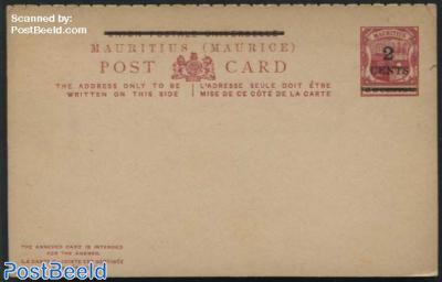 Postcard 2 CENTS on 8c, 4mm digit