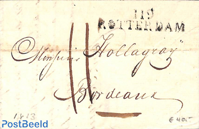 Folding letter from Rotterdam to Bordeaux