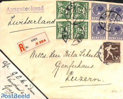 Registered letter to Switzerland with 30c olympic stamp