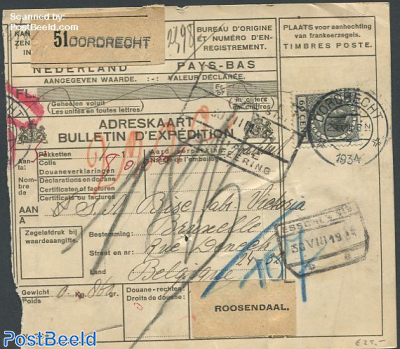Postale from Dordrecht to Roosendaal with nvhp no.198