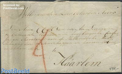 Folding letter from Delftshaven to Haarlem