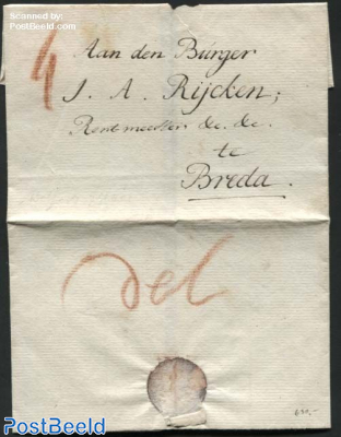 Letter from Delft to Breda