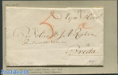 Folding letter from Amsterdam to Breda.