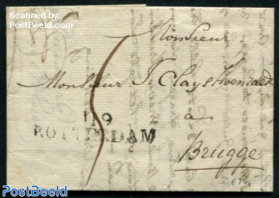 Folding letter from Rotterdam to Brugge