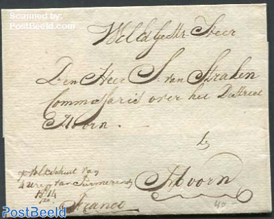 Letter cover from Purmerend to Hoorn, sent by track boat
