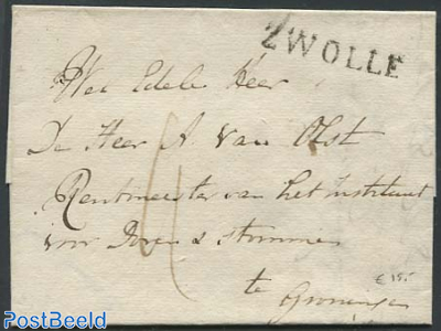 Folding letter from Zwolle to Groningen