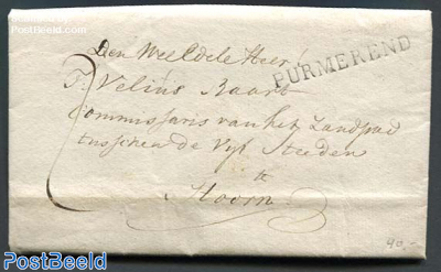 Folding letter from Purmerend to Hoorn