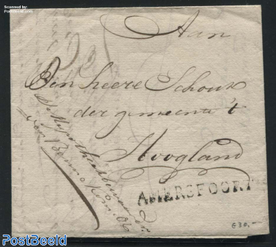 Folding letter from Amersfoort to Hoogland