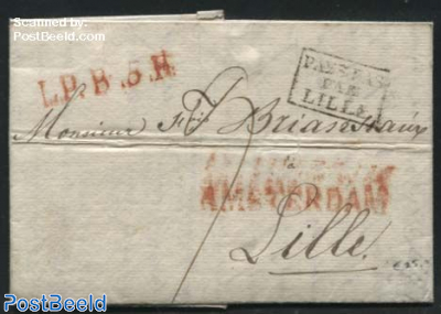 Folding letter from Amsterdam to Lille, France