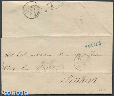1877, Cover to the prosecutor. From Putten (see mark) to Arnhem.