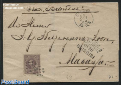 Shipmail to Neth. Indies via Brindisi